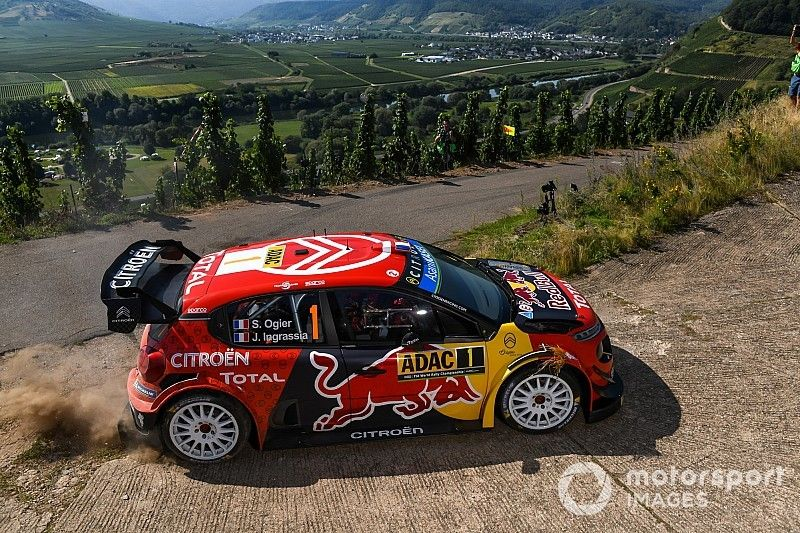 Germany WRC: Tanak leading Toyota 1-2-3, puncture for Ogier