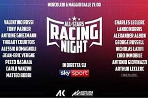 "Sfida virtuale Rossi-Leclerc nella ""All Stars Racing Night"""