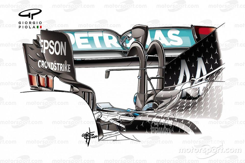 Mercedes W11: il collo alto del cigno serve a... soffiare
