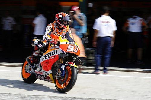 Misano MotoGP: Marquez goes quickest, crashes in warm-up