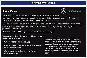 Mercedes s'offre une petite annonce dans Autosport pour recruter un pilote