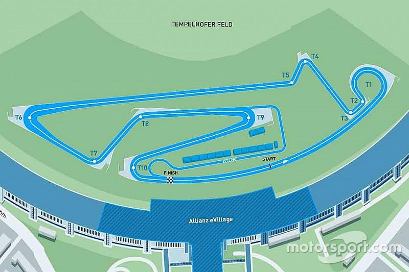 Streckenlayout für Formel E am Flughafen Tempelhof in Berlin steht