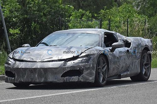 Ferrari V6 Hybrid spied with camouflaged production body