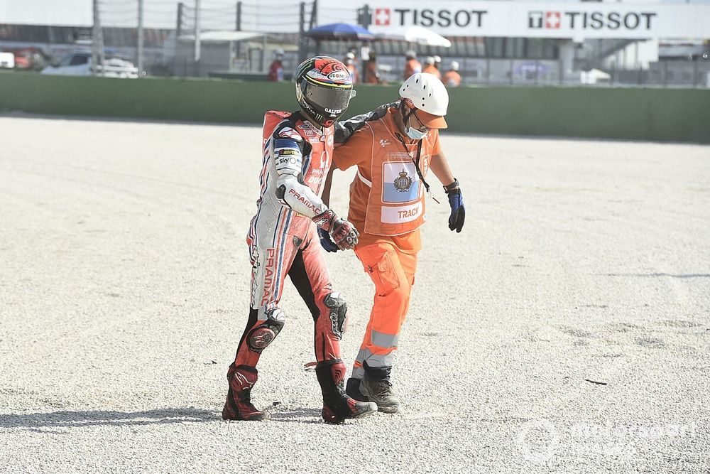 Bagnaia adamant that crash from lead was caused by debris