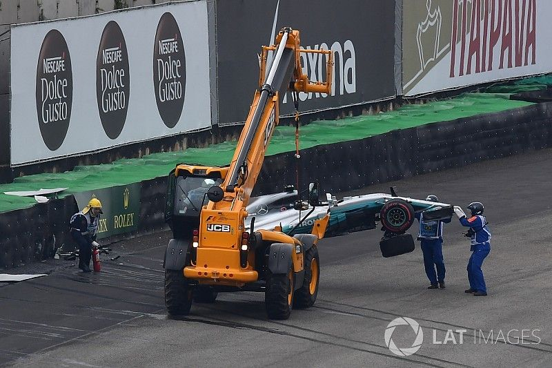 Hamilton out in Q1 in Brazil after heavy crash