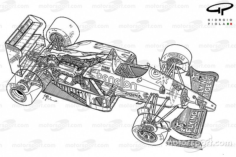 F1's iconic cars: The brutal Benetton B186 by Giorgio Piola