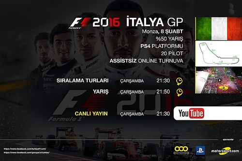 F1 2016 online turnuva: İtalya GP - Canlı Yayın