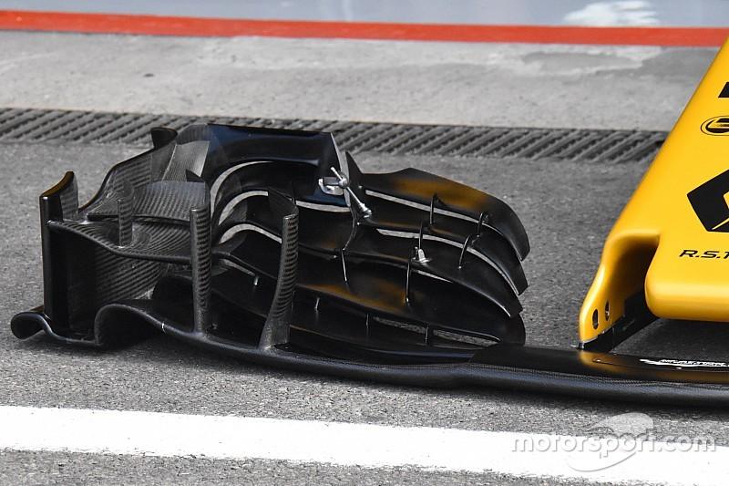 Renault: quasi orizzontale l'ultimo flap dell'ala anteriore