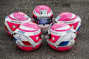 Fotos: los cascos homenaje a Anthoine Hubert en Sochi