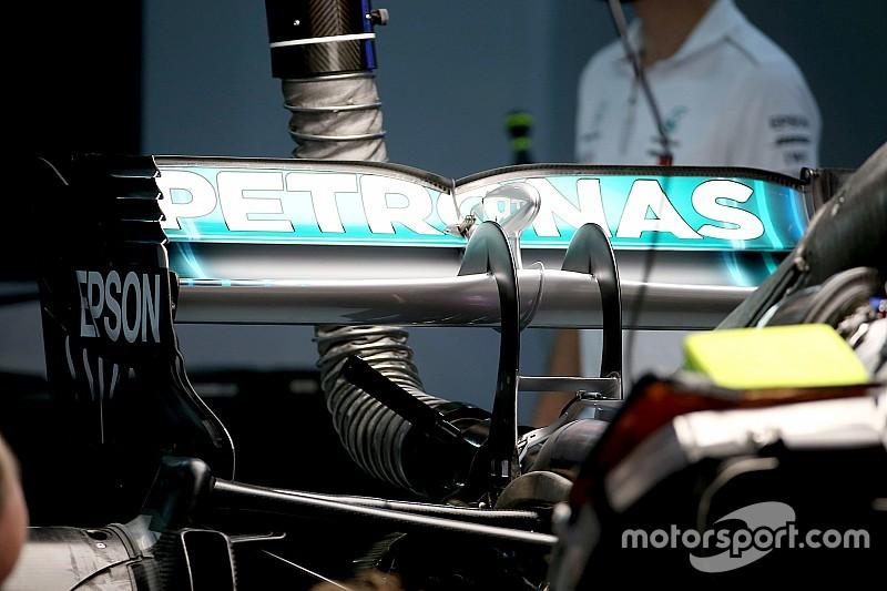 Mercedes: copiato il supporto dell'ala posteriore Ferrari con il collo del cigno