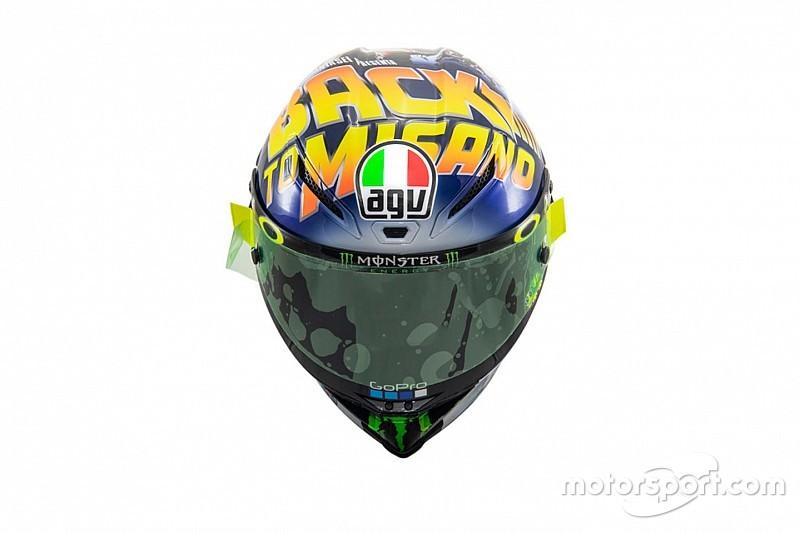 "Rossi présente son casque: ""Back to Misano"""
