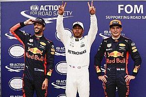 Hamilton pakt pole in flink uitgelopen kwalificatie, tweede tijd Verstappen