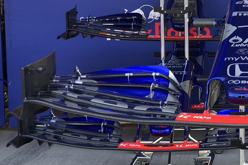 Toro Rosso: l'ala anteriore con la bandella piegata