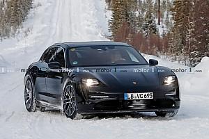 Porsche Taycan Sport Turismo, le foto spia sulla neve