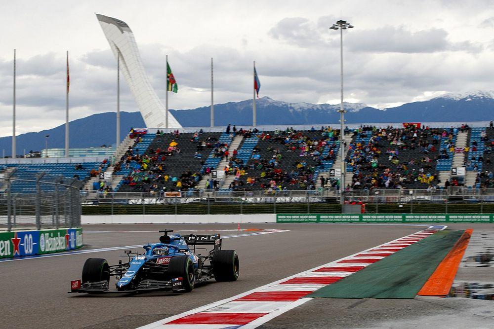 Alonso y sus opciones en la salida del GP de Rusia de F1 2021