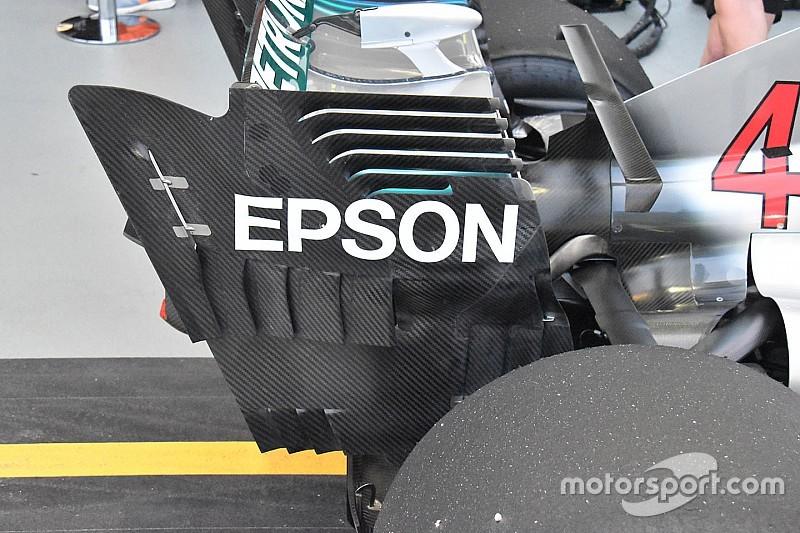 Mercedes: ala posteriore da massimo carico e frange per ripulire la scia della W09