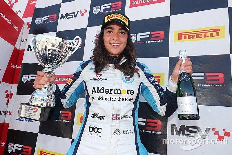 Chadwick becomes first female British F3 winner