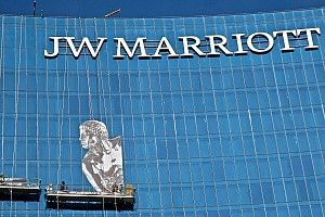 Giant Borg-Warner Trophy graphic for Indianapolis hotel