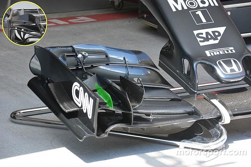 Bite-size tech: McLaren MP4-31 front wing changes