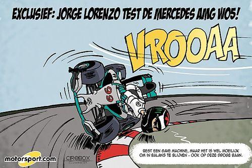 Cartoon van Cirebox - Lorenzo test Mercedes F1-bolide (op zijn manier)