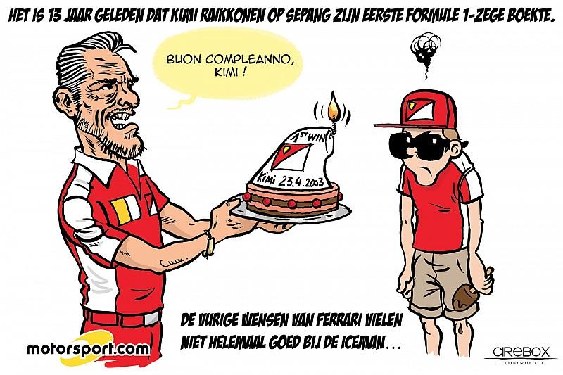 Cartoon van Cirebox - Viering van Kimi's eerste F1-zege