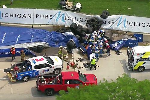 Un violent crash de Rosenqvist a interrompu le GP de Detroit