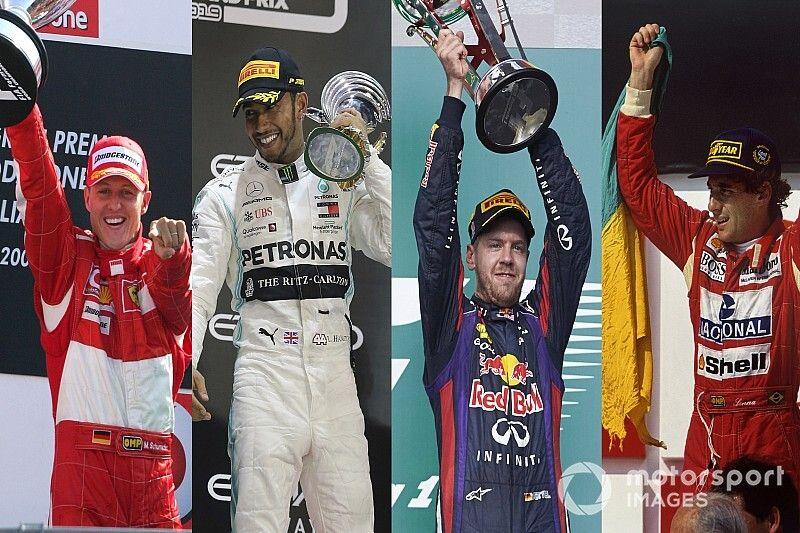 Los pilotos con más victorias en un mismo equipo