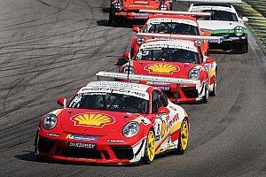Kaesemodel e Neugebauer, pilotos Shell, comemoram resultados da Porsche Cup em Interlagos