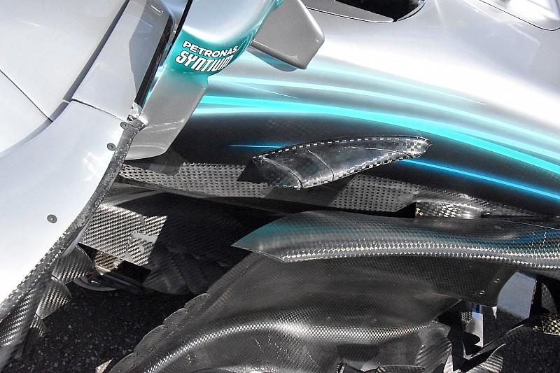 Mercedes copia Ferrari: apre tre soffiaggi nella parte anteriore del fondo