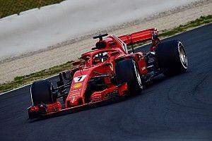 GALERI: Aksi mobil Ferrari SF71H di tes F1 Barcelona