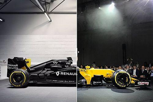 Comparación visual del Renault RS16 vs RS17