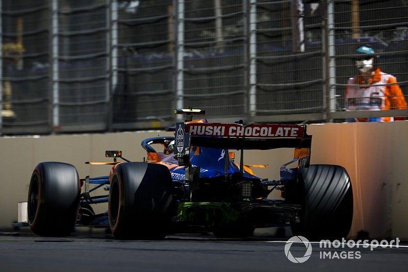 """Norris diz que escapou de """"grande batida"""" no fim do GP de Baku"""