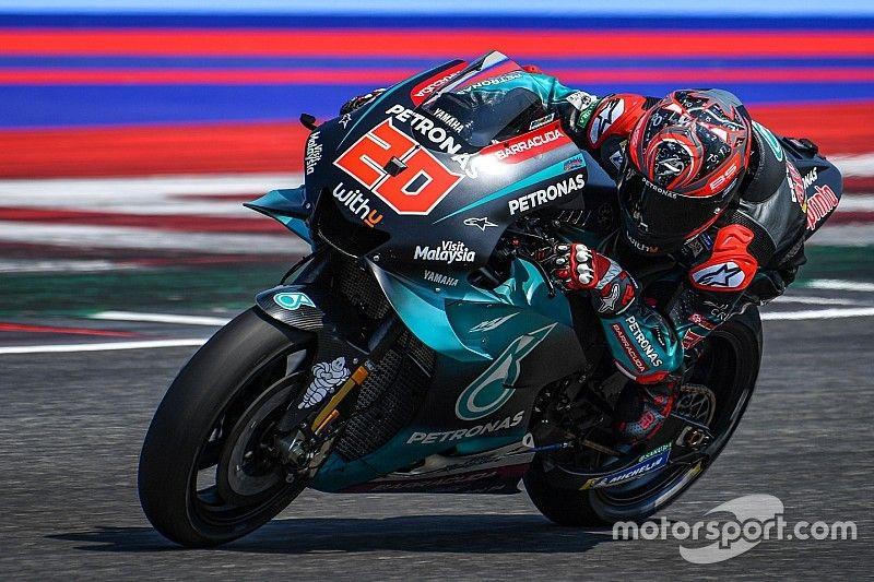 Após acidente e hospital, Quartararo lidera dia de testes marcado por domínio da Yamaha em Misano