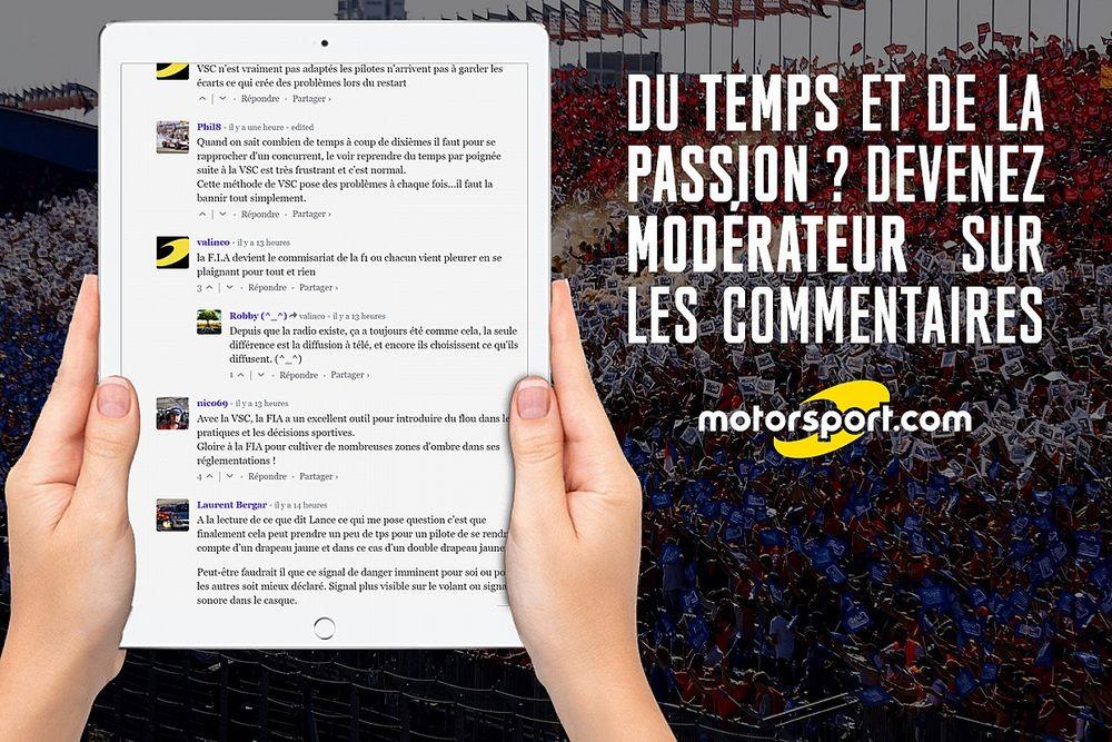 Devenez modérateur sur les commentaires des articles Motorsport.com !