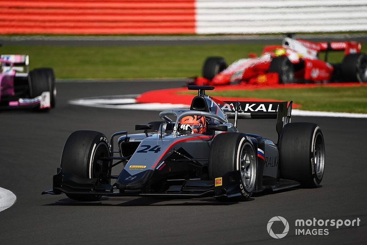 Silverstone F2: Mazepin charges to maiden victory