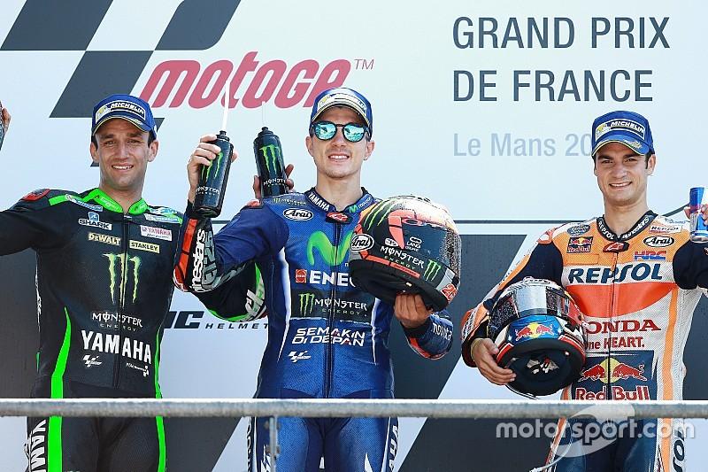 Le Mans MotoGP: Vinales wins as Rossi crashes on final lap