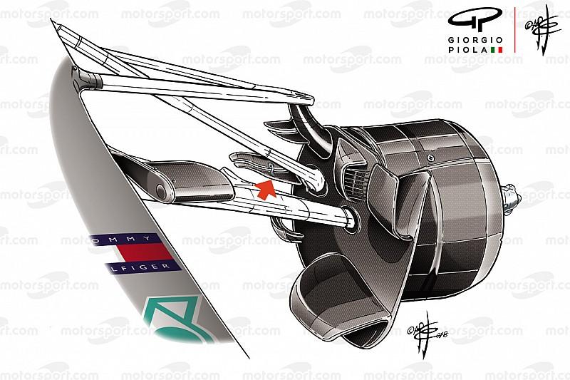 Mercedes: ripulita la scia turbolenza della ruota anteriore con due pinne