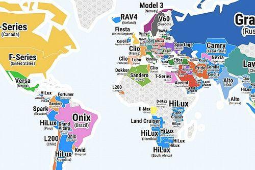 Quais são os carros mais vendidos em cada país? Veja nosso mapa-múndi