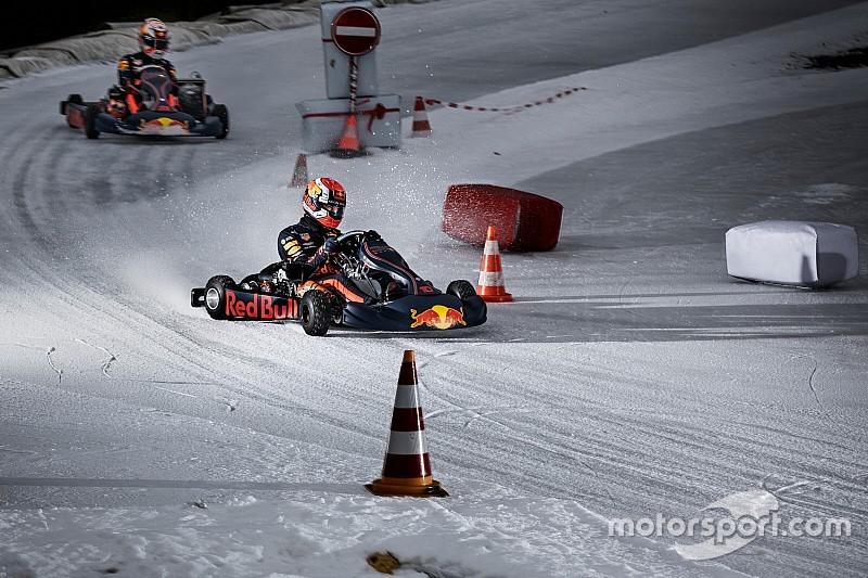 GALERIA: Verstappen e Gasly participam de corrida de kart no gelo