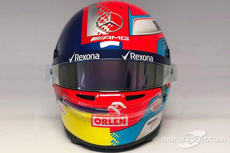 Russell avec un casque inspiré de Montoya