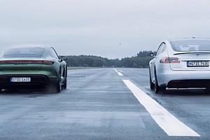 Végre összemérte erejét a Tesla Model S és a Porsche Taycan