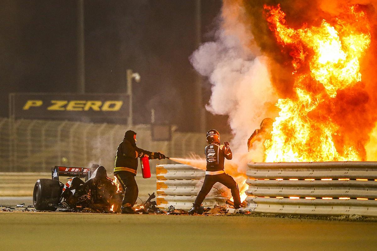 Fotos: así fue el espeluznante accidente de Grosjean en Bahrein