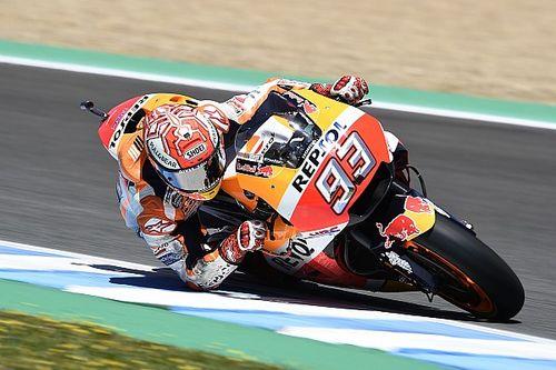 Jerez MotoGP: Marquez tops warm-up, but crashes again