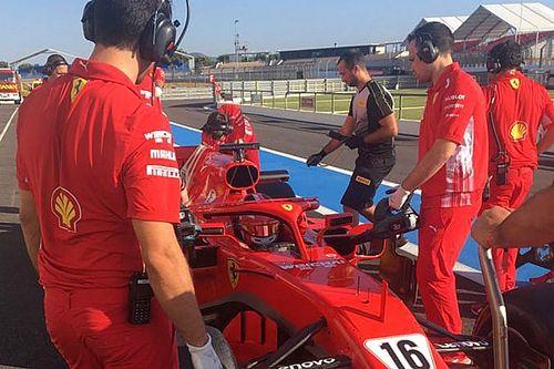 Leclerc probó con Ferrari en el test de Pirelli