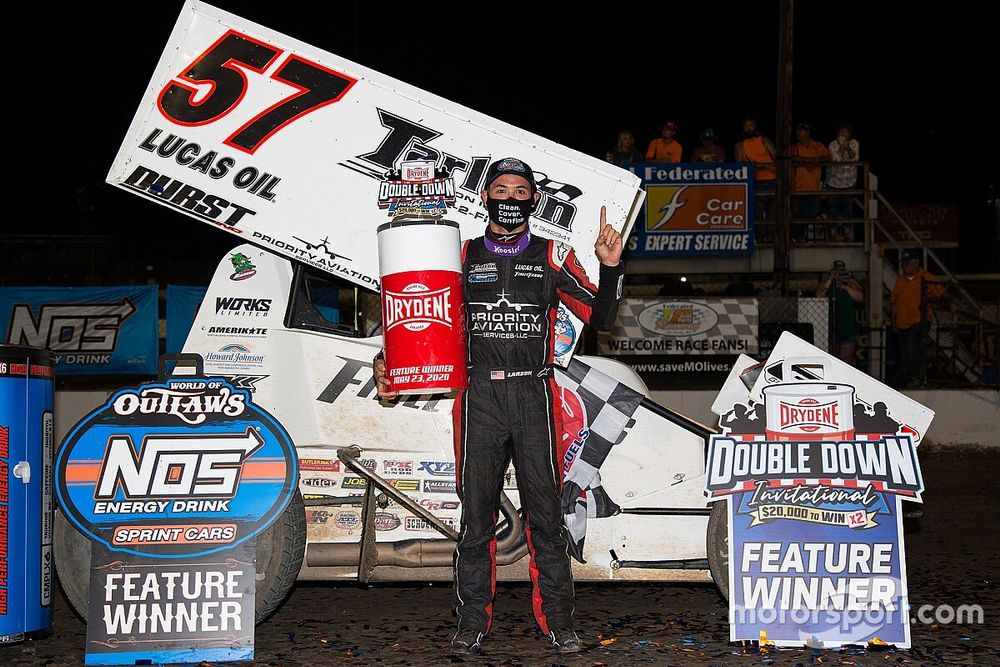 """Kyle Larson """"can't even describe"""" his World of Outlaws win"""