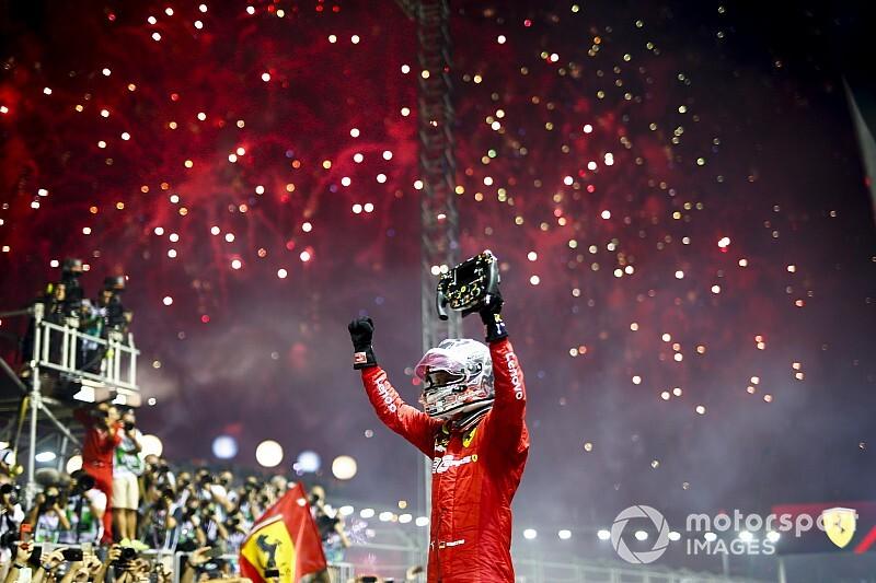 Vettel boekt in Singapore eerste zege van 2019, Verstappen derde