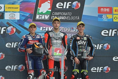 CIV Moto3, Spinelli trionfa ed è il nuovo leader