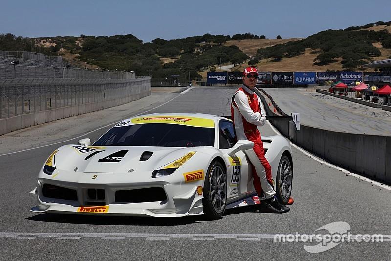 Actor Michael Fassbender races with Ferrari
