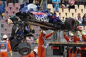 Spanish GP: Hamilton quickest as big Hartley crash ends FP3
