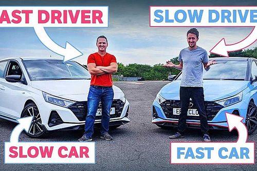 Videó: Melyik gyorsabb, egy lassú sofőr gyors autóban, vagy egy gyors sofőr lassú autóban